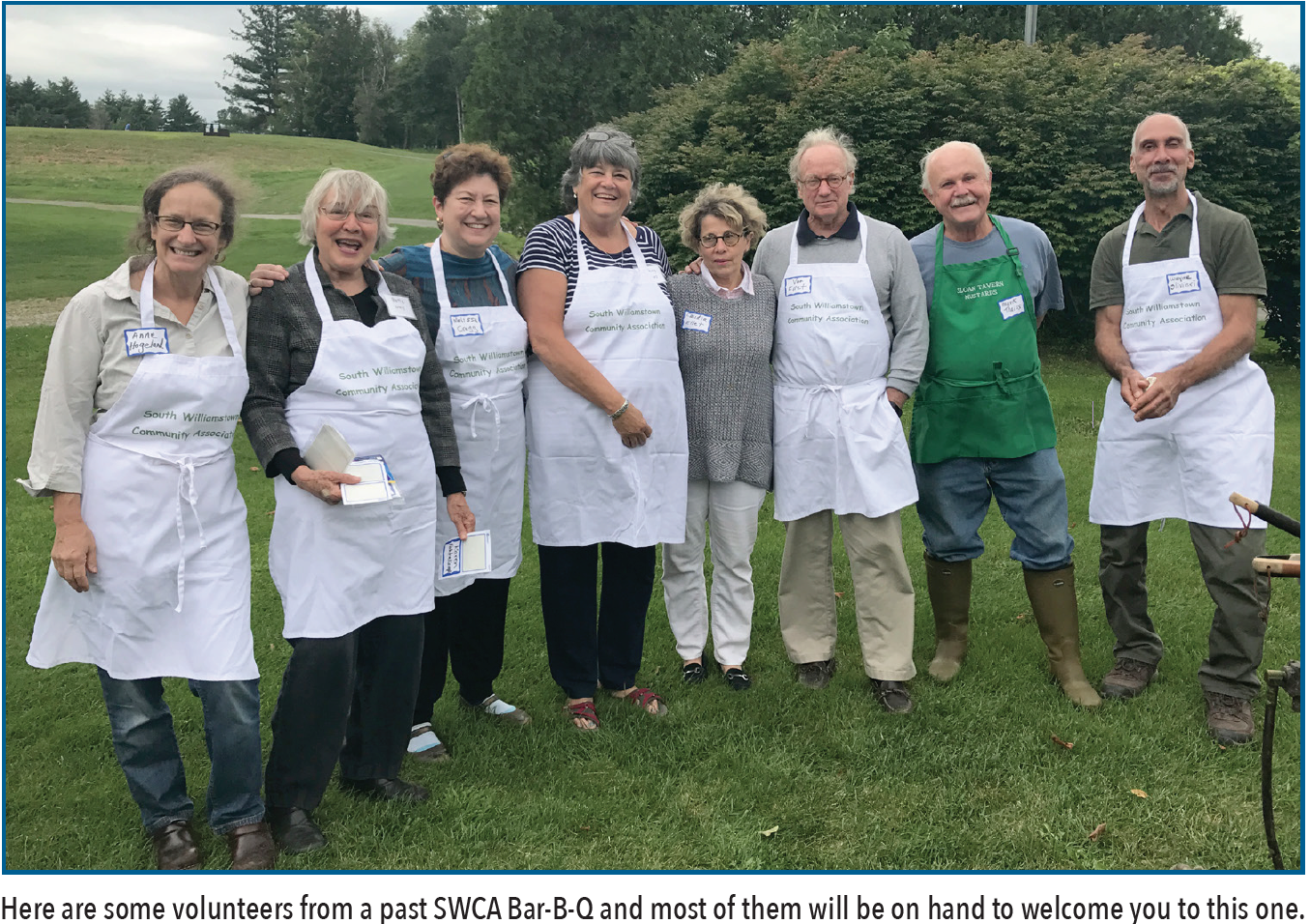 Here are some volunteers from a past SWCA Bar-B-Q and most of them will be on hand to welcome you to this one.